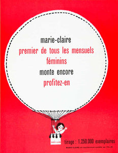 1958 Ad Marie-Claire Hot Air Balloon French Adorable Women's Fifties Red VEN1