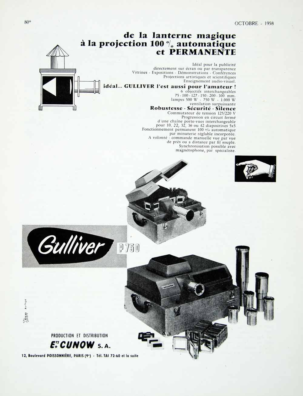 1958 Ad Magic Lantern Projector Gulliver Cunow P750 Slides Fifties VEN1