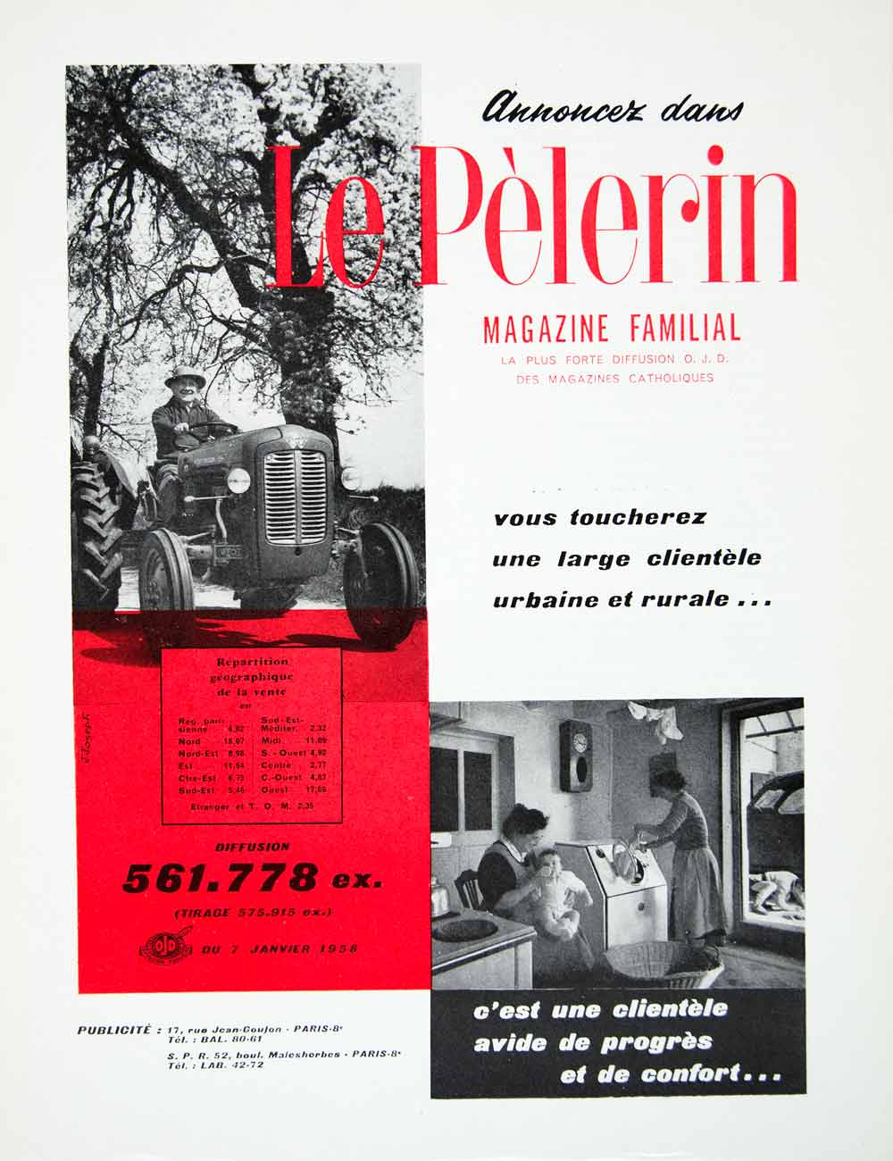 1958 Ad Pelerin Urban Rural Catholic French Fifties Tractor ODJ Washing VEN1