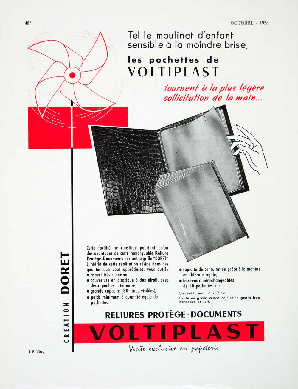 1958 Ad Voltiplast Clear Plastic Protector Sheet Binder Pinwheel Stationary VEN1