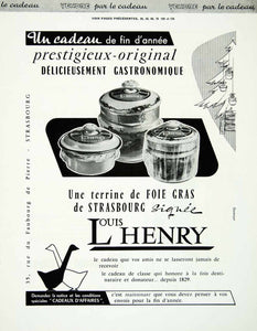 1958 Ad Louis Henry Foie Gras Strasbourg Christmas Gift Present French Jar VEN1
