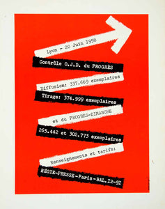1958 Ad Regie-Presse Progres French Arrow Red Black White Bold Design VEN1