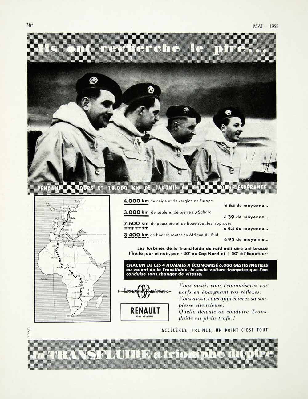 1958 Ad Renault Transfluide Automotive Part Cross-Country French Road Trip VEN1