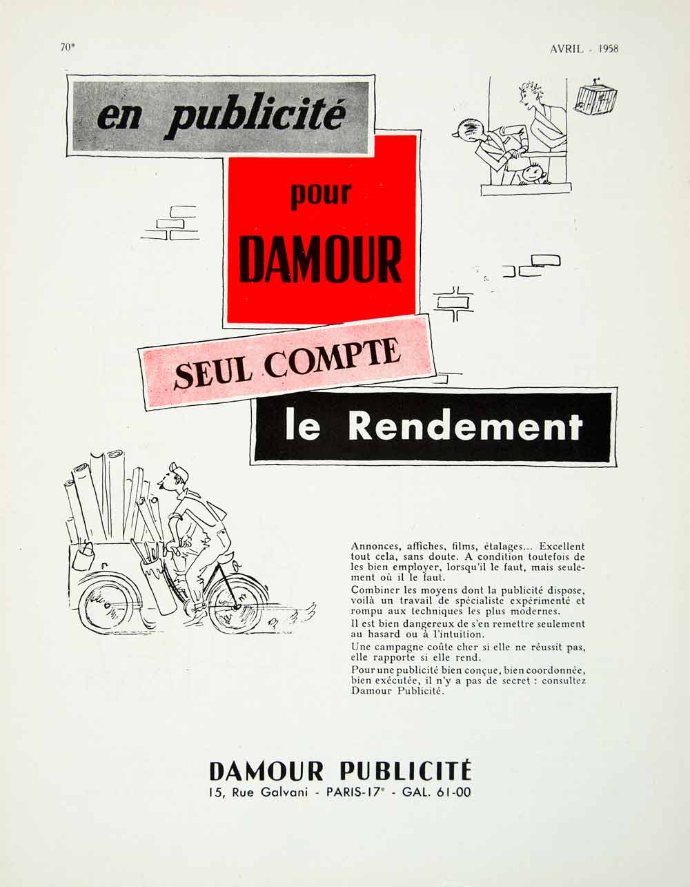 1958 Ad Damour Publicite French Advertising Agency Fifties Poster Card VEN1