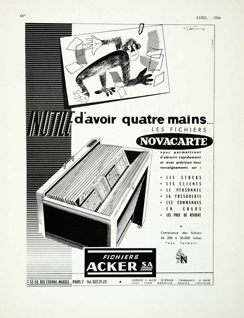 1958 Ad Acker Novacarte Monkey French Filing System Office Organizational VEN1