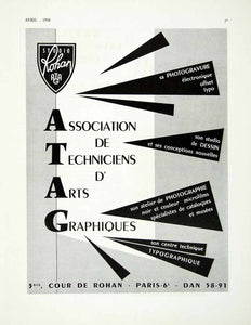 1958 Ad ATAG Association Techniciens d'Arts Graphique Studio Rohan French VEN1