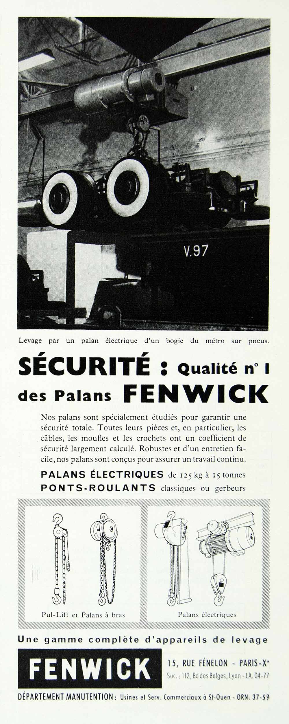 1958 Ad Fenwick Security Pulley French Fenelon Lift Leverage Manutention VEN1