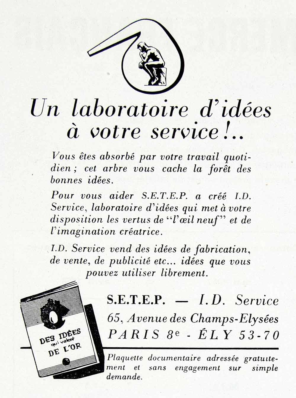 1958 Ad SETEP I.D. Service French Ideas Business Help Marketing Perspective VEN1