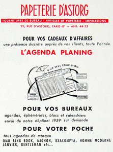 1958 Ad Papeterie D'Astorg L'Agenda Planing Day Planner French Stationary VEN1
