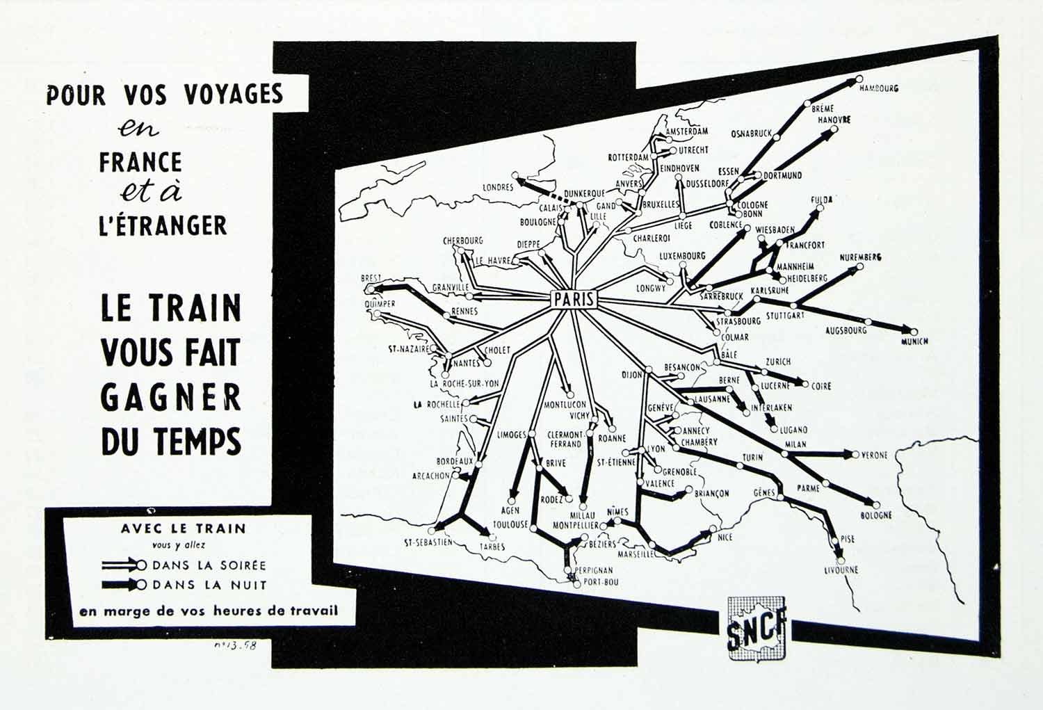 1958 Ad SNCF Paris France Transportation Map Train Railroads Railways VEN1