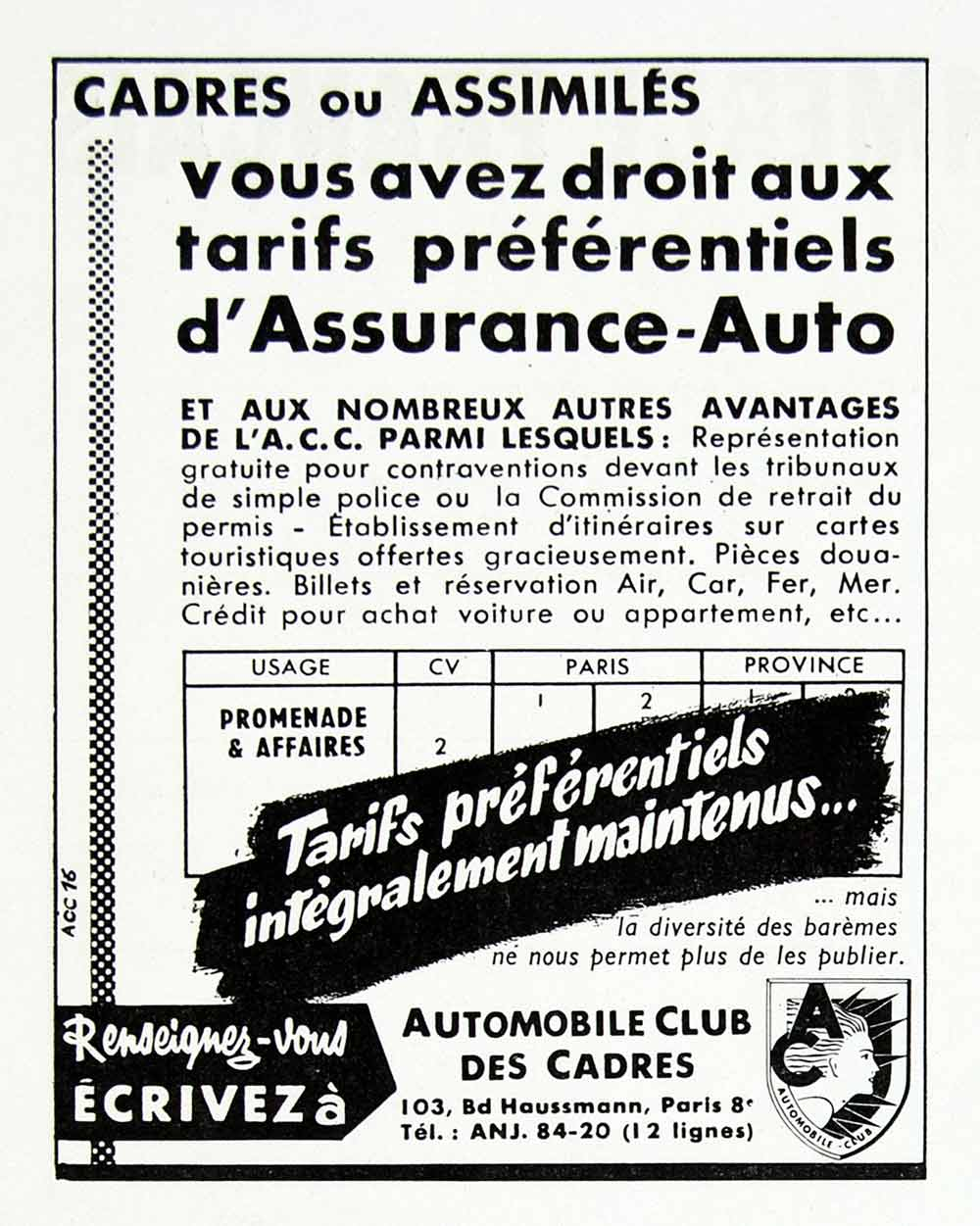 1958 Ad Automobiles Club Cadres Assurance-Auto Car Insurance ACC French VEN1