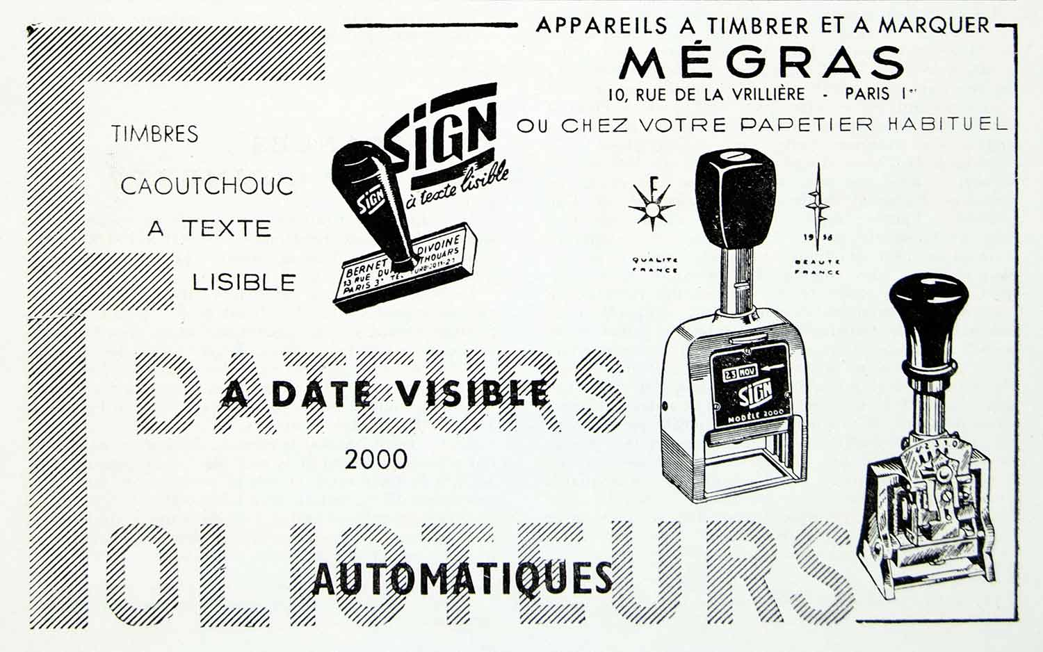 1958 Ad Dateurs Folioteaurs Automatic Rubber Stamps Megras French VEN1