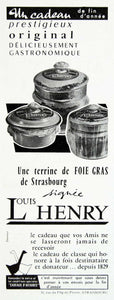 1958 Ad Louis Henry Foie Gras Strasbourg Business Gift Jar French Goose VEN1