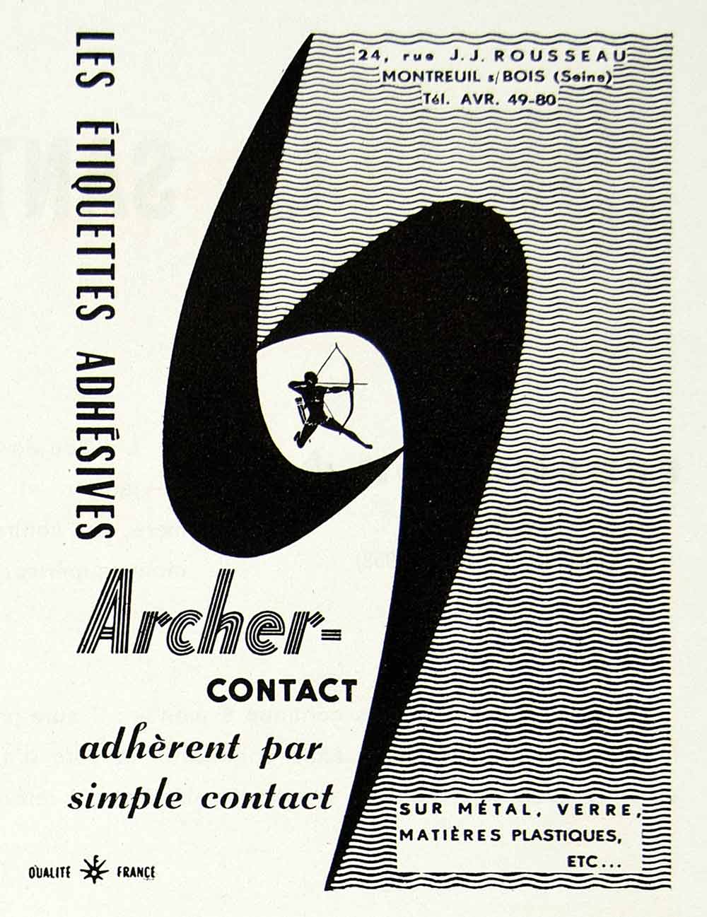 1958 Ad Archer-Contact Multi-Surface Adhesive Stickers J. J. Rousseau VEN1