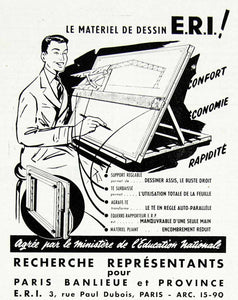 1958 Ad ERI Graphic Designer French Advertisement Drafting Commercial VEN1