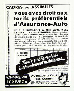1958 Ad Automobiles Club Des Cadres Assurance-Auto Car Insurance French VEN1