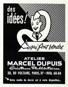 1958 Ad Marcel Dupuis Advertisement Creator French Man 38 Blvd Voltaire VEN1