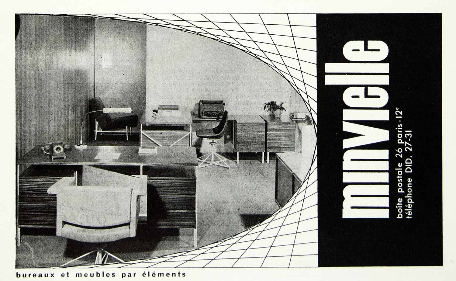 1957 Ad Minvielle Desks Office Furniture Fifties Retro Chair Interior VEN1