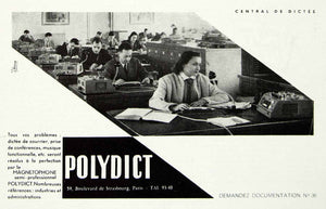 1958 Ad Polydict Magnetophone Recording Machine Office French Secretary VEN1