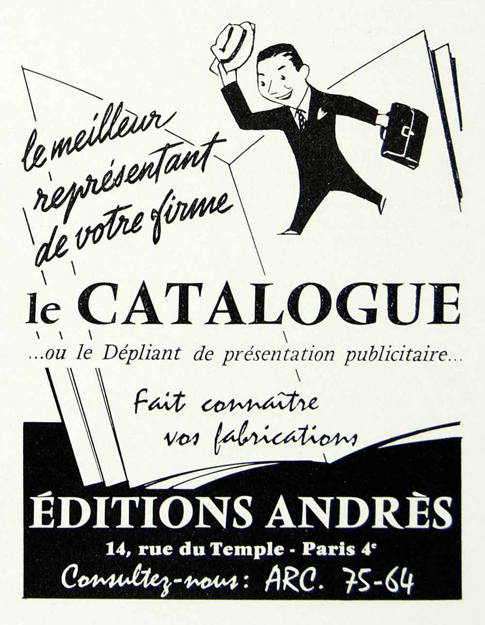 1957 Ad Editions Andres 14 Rue Temple Paris ARC Advertising Marketing VEN1