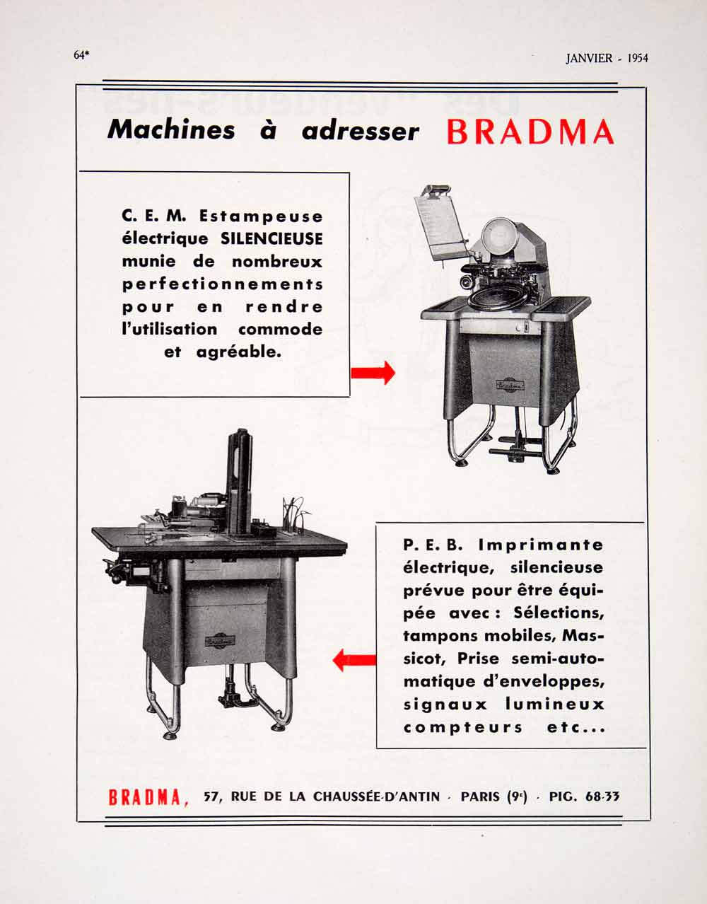 1955 Ad Bradma French Machine Paris France Advertisement Rue de la Chaussee VEN2