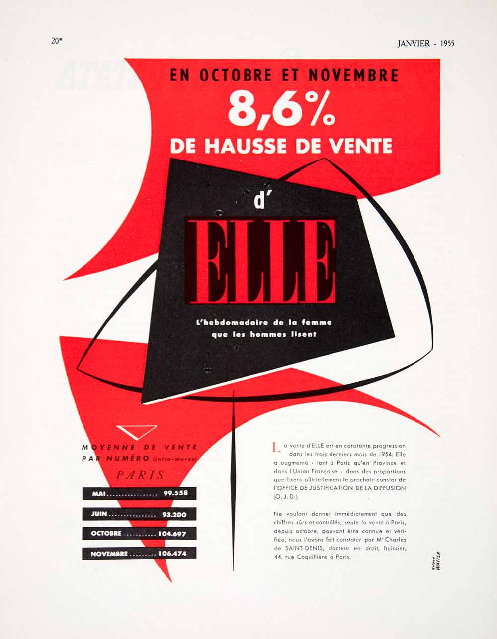 1955 Ad Paris France Saint-Denis French Advertisement d'Elle Roland Walter VEN2