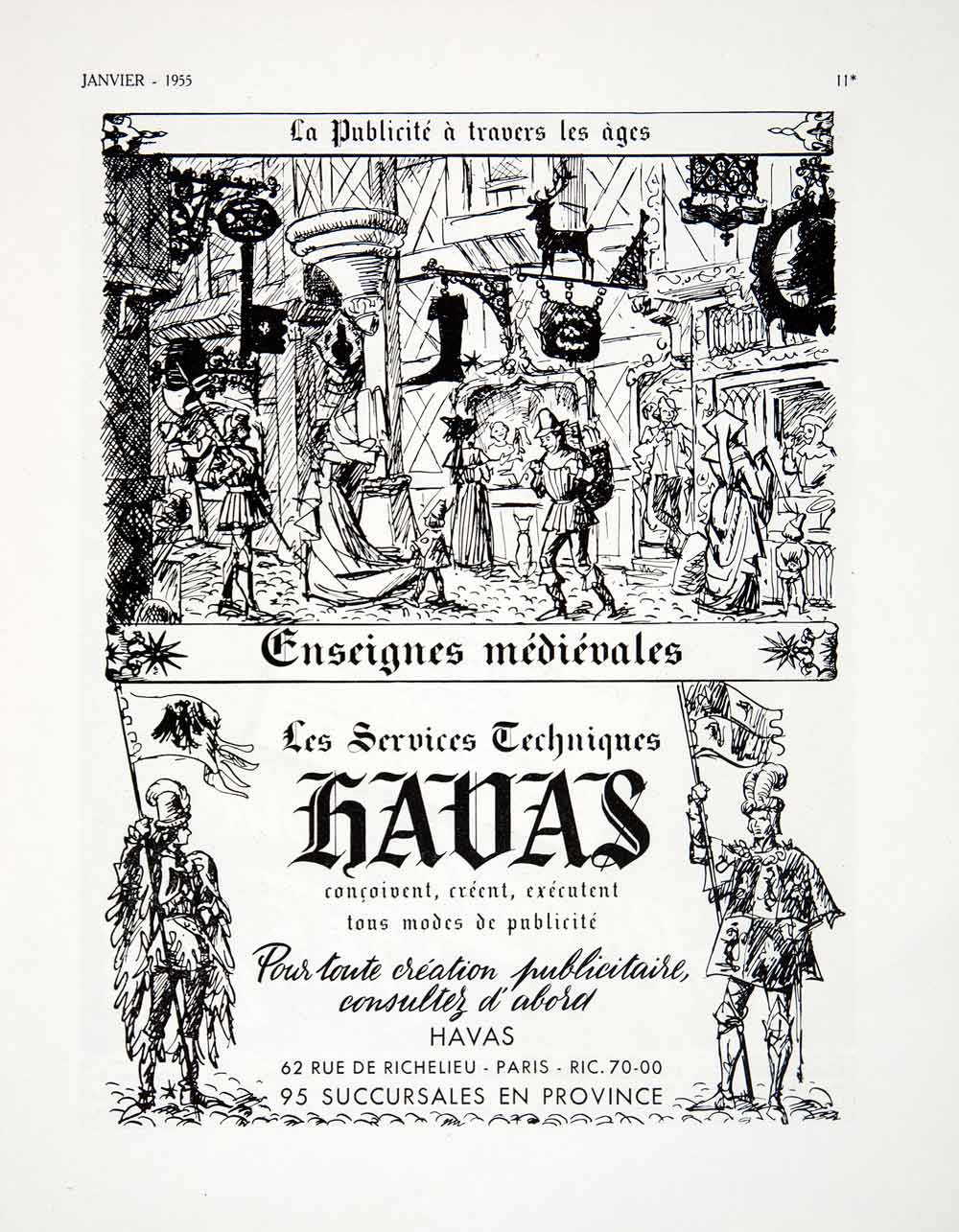 1955 Ad French Advertisement Medieval Banner Advertising Havas Armor VEN2