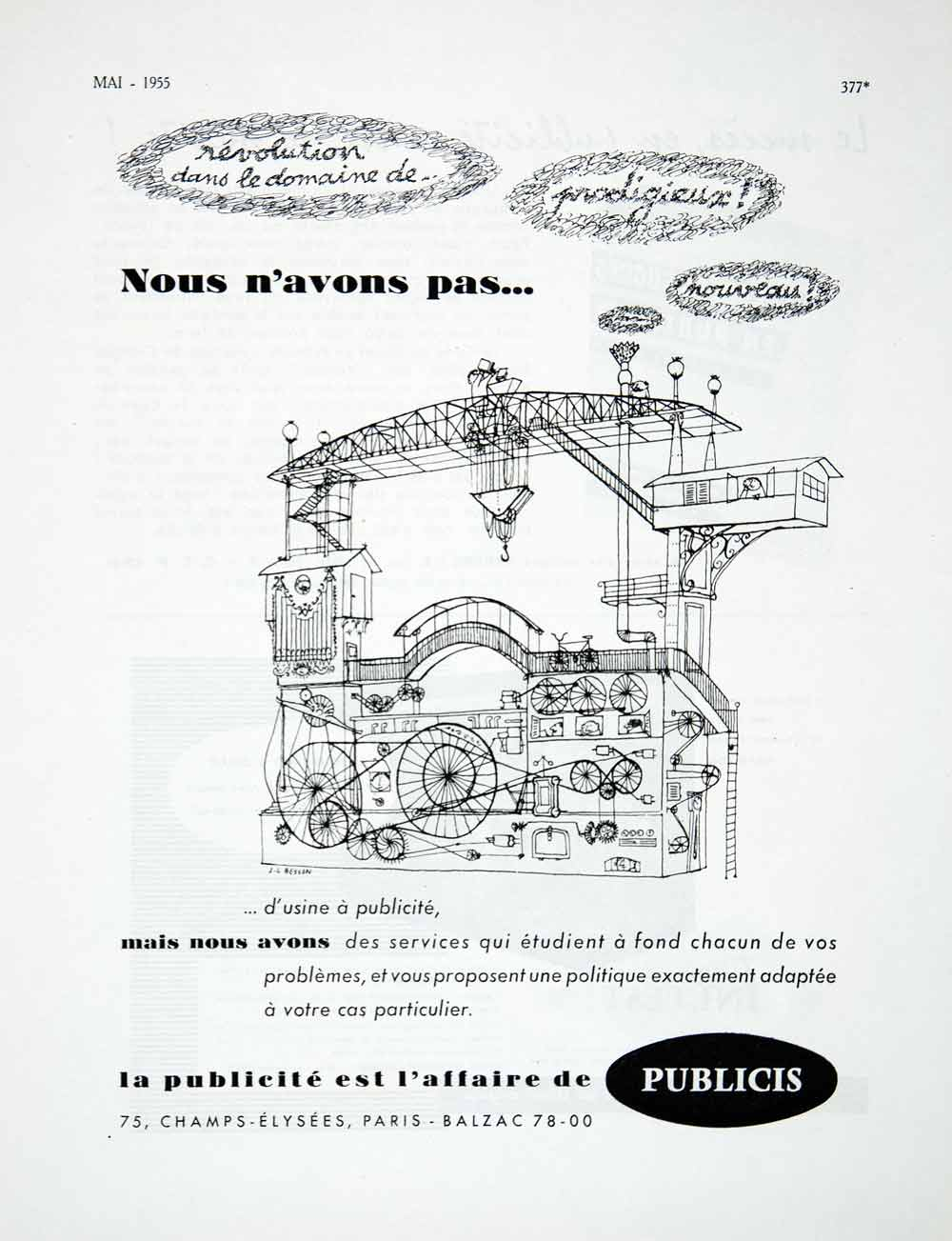 1955 Ad Publicis Advertising French France Champs-Elysees Paris Machine VEN2