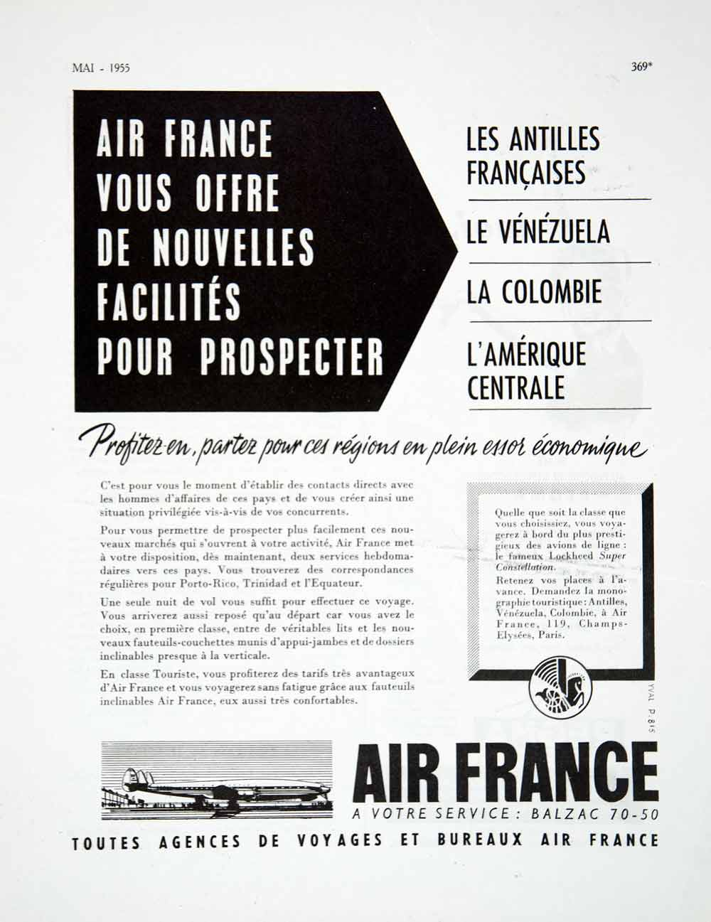 1955 Ad Air France Travel Tourism French Lockheed Airplane Advertising VEN2
