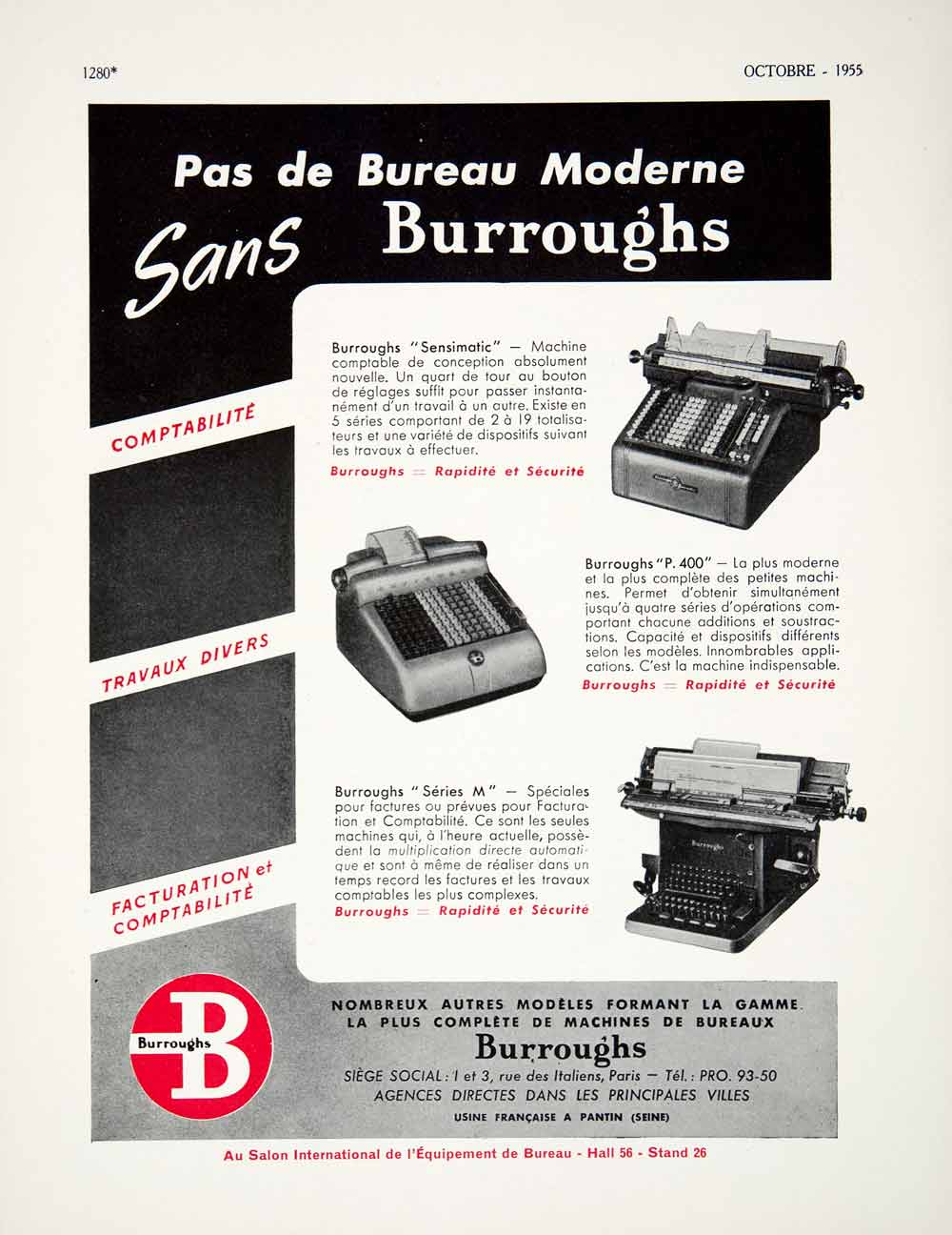 1955 Ad Burroughs Typewriter Calculator Machine French Advertisement VEN2