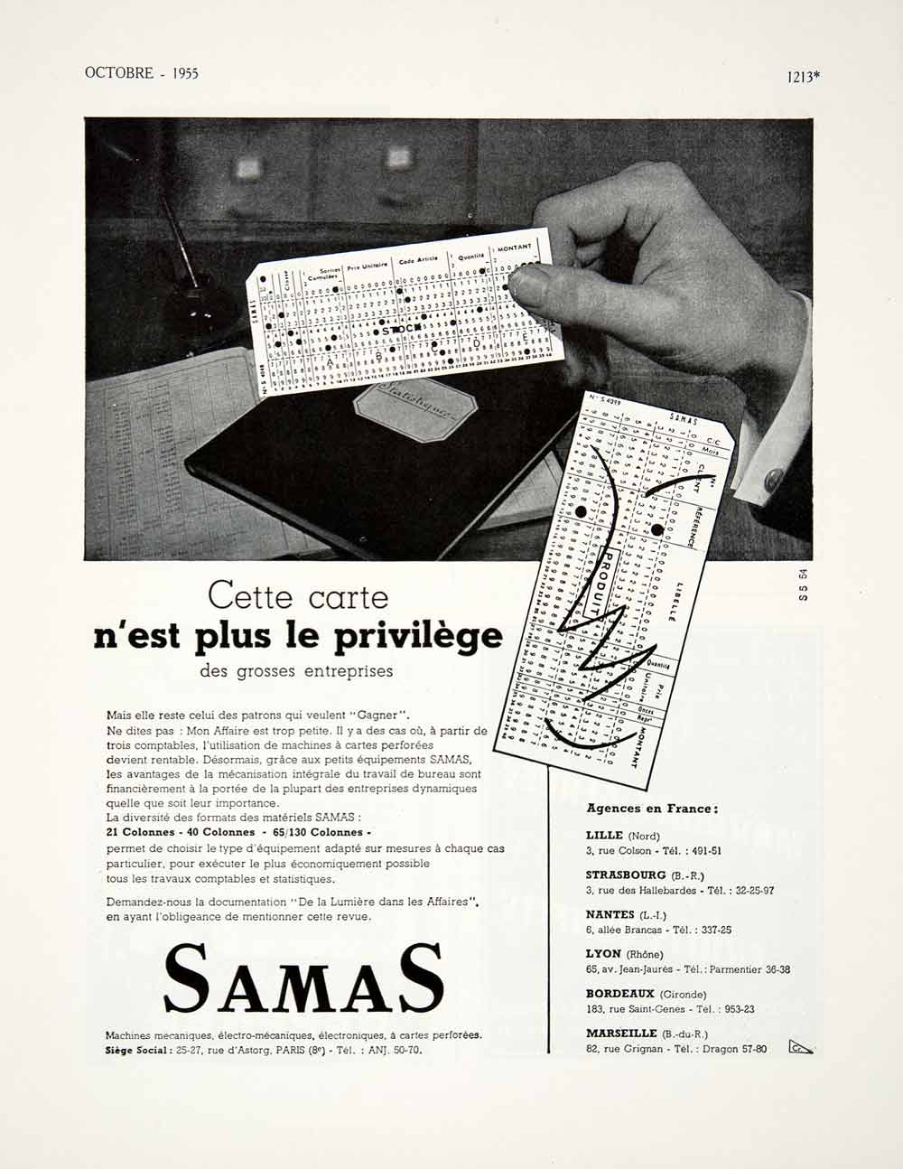 1955 Ad Samas Paris France Rue d'Astorg French Advertisement Card Montant VEN2