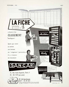 1955 Ad Sancar Organization Office Multibac Kisly Classotheque Repertoire VEN2