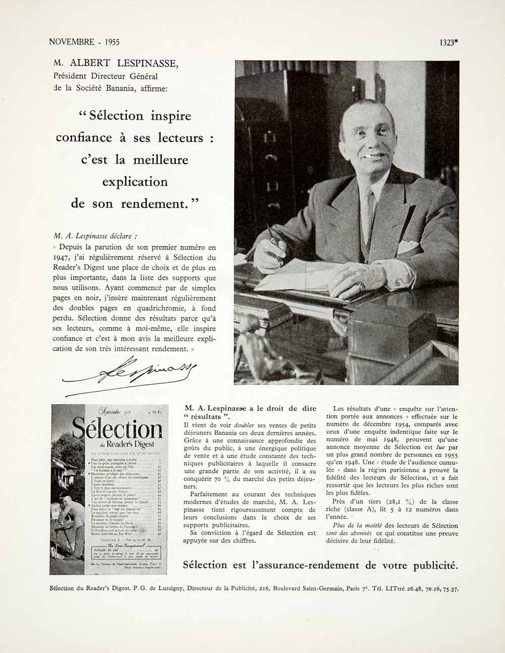 1955 Ad Selection Reader's Digest Albert Lespinasse Portrait French VEN2