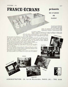 1955 Ad France-Ecrans Studio Clichy French Advertisement Rue Montevideo VEN2