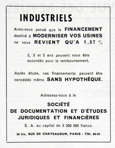 1955 Ad Societe Documentation Juridiques Financial Legal Society Study VEN2
