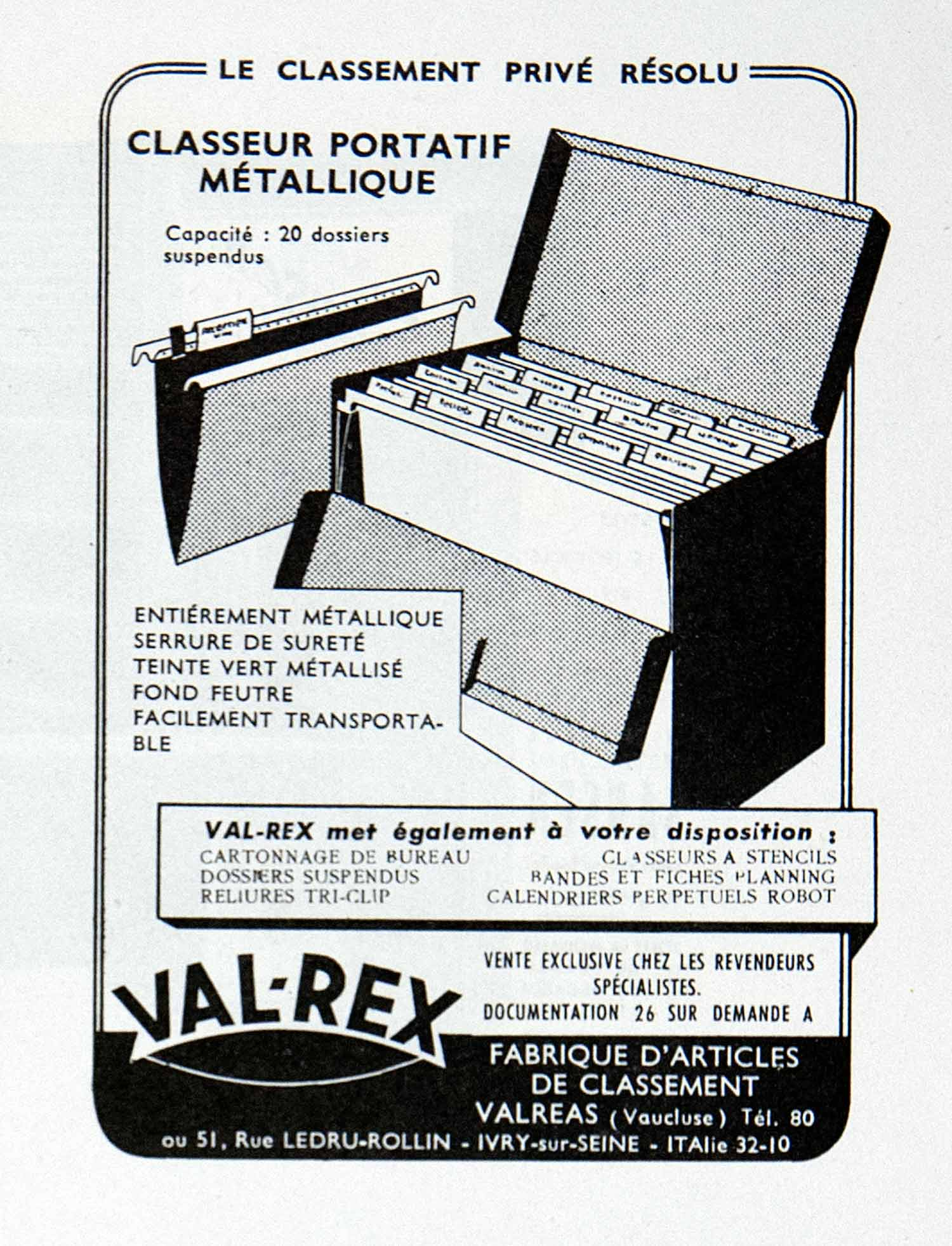 1955 Ad Filing Cabinet Val-Rex Portatif Classeur French Advertisement Ledru VEN2