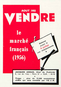 1955 Ad Vendre Magazine French Market Jacques Aroud Advertisement Paris VEN2