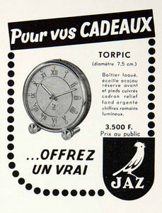 1955 Ad Clock Time JAZ Torpic Cadeaux France French Advertising VEN2