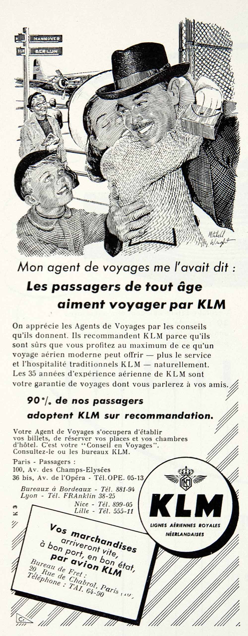 1955 Ad KLM Dutch Airlines Mitchell Wright Tourism French Advertisement VEN2