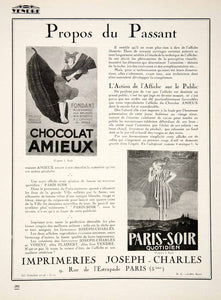 1924 Ad Amieux Chocolat French Paris-Soir Joseph-Charles Printing Firm VEN3