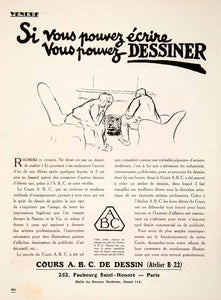 1924 Ad Cours ABC Dessin 252 Faubourg Saint-Honroe Paris Drawing French VEN3