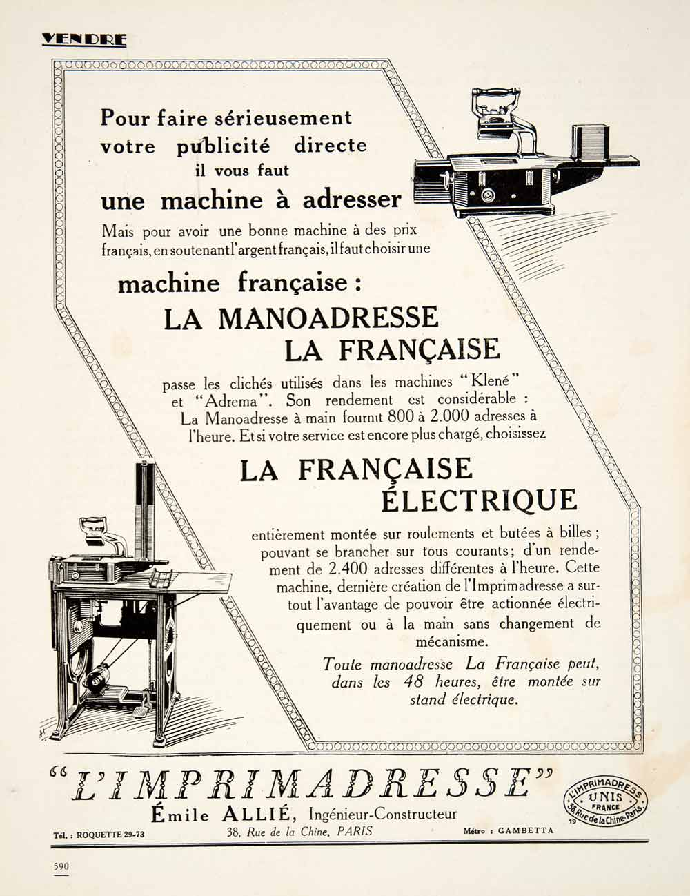 1924 Ad Imprimadresse Emile Allie 38 Rue Chine Paris Machine Invention VEN3