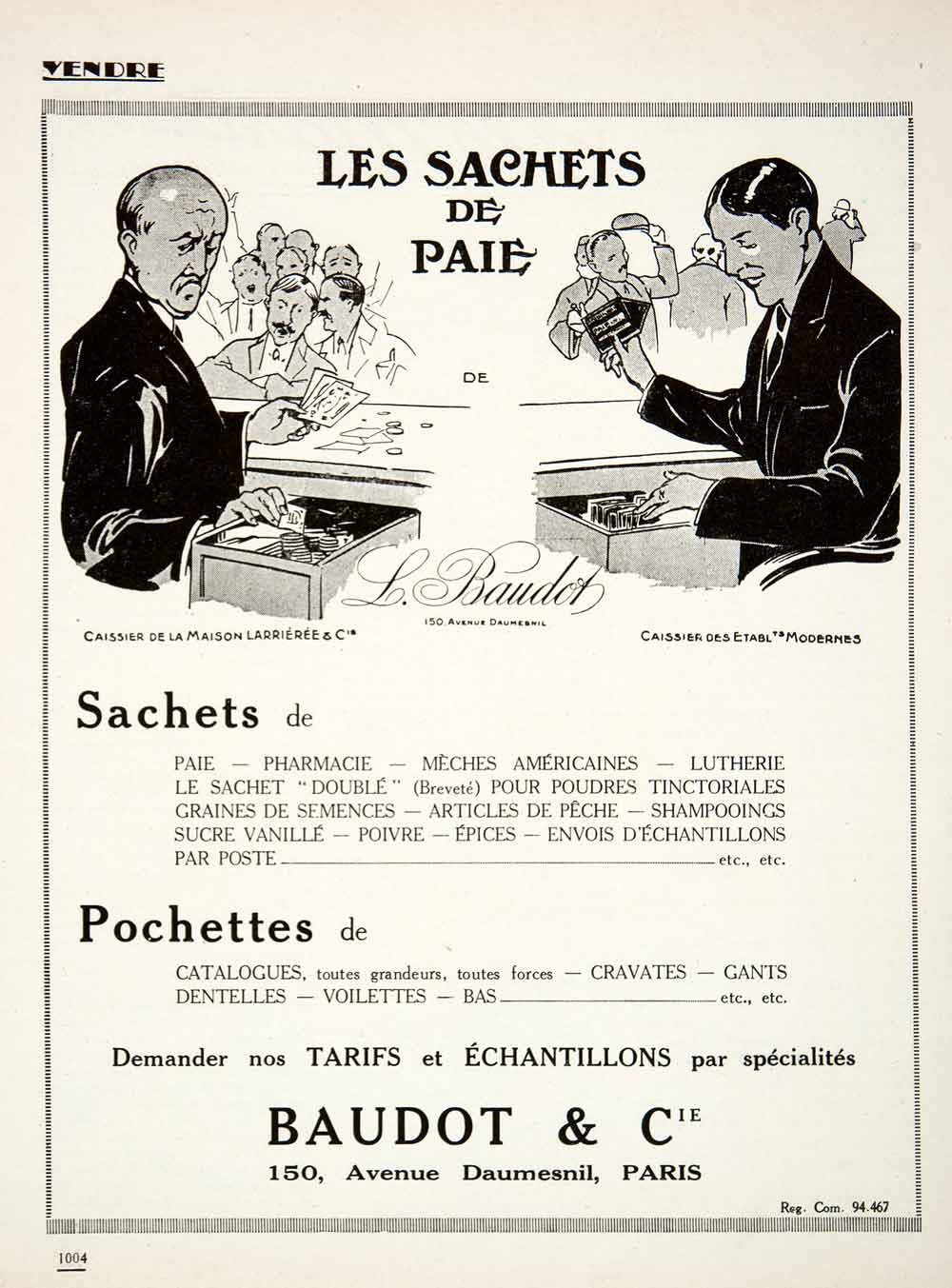 1924 Ad Baudot 150 Avenue Daumesnil Paris Pay Packets Packaging French VEN3