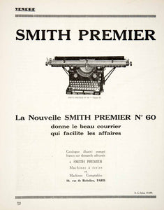 1924 Ad Smith Premier No 60 Typewriter French 89 Rue Richelieu Paris VEN3