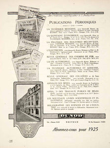 1924 Ad Dunod Publications Applied Science Journals French Automobile VEN3