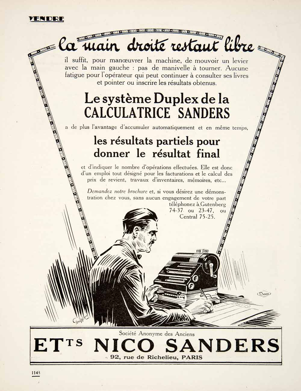 1924 Ad Nico Sanders Calculatrice Calculator French Duplex Accounting VEN3