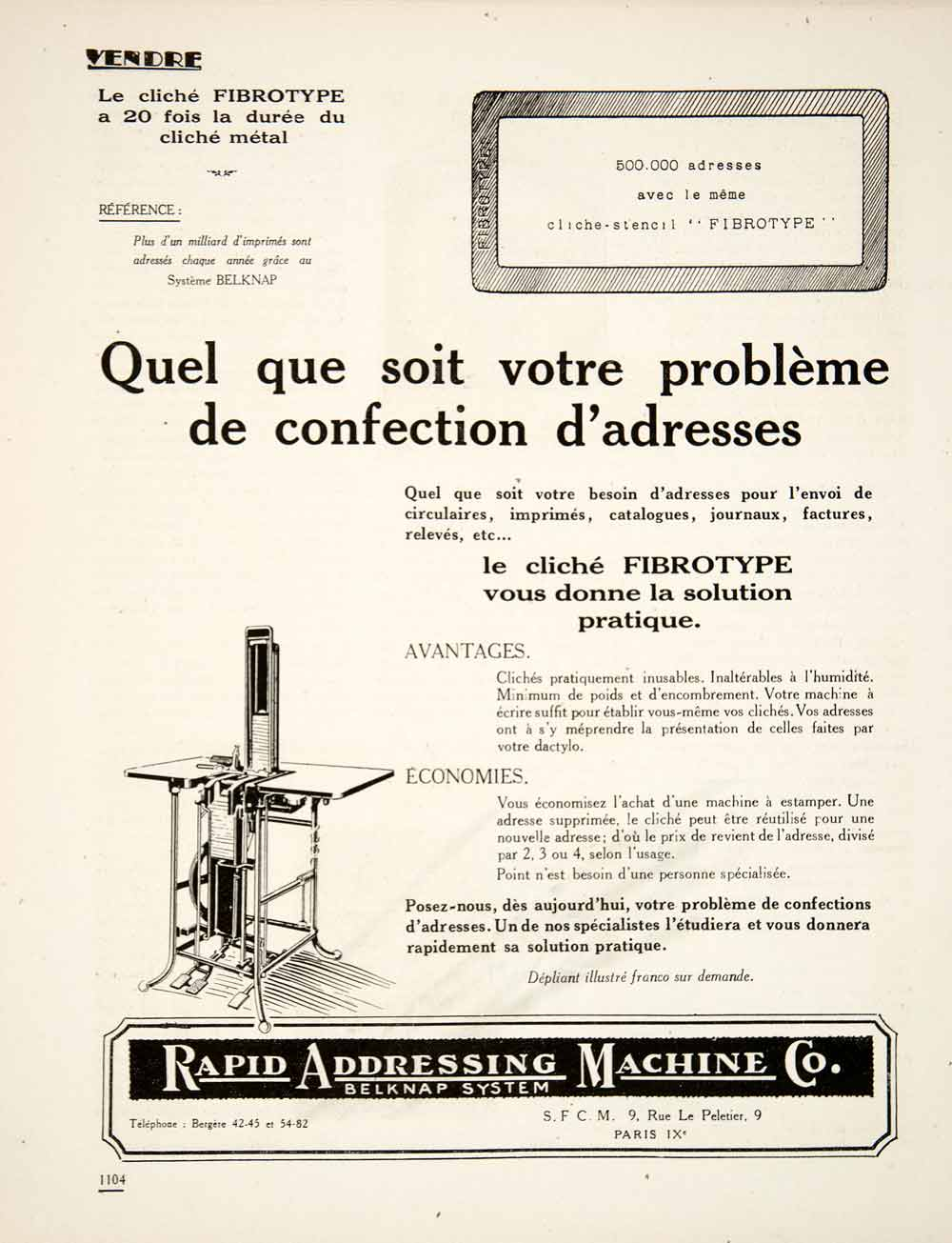 1924 Ad Fibrotype Cliche Rapid Addressing Machine Belknap French Printing VEN3