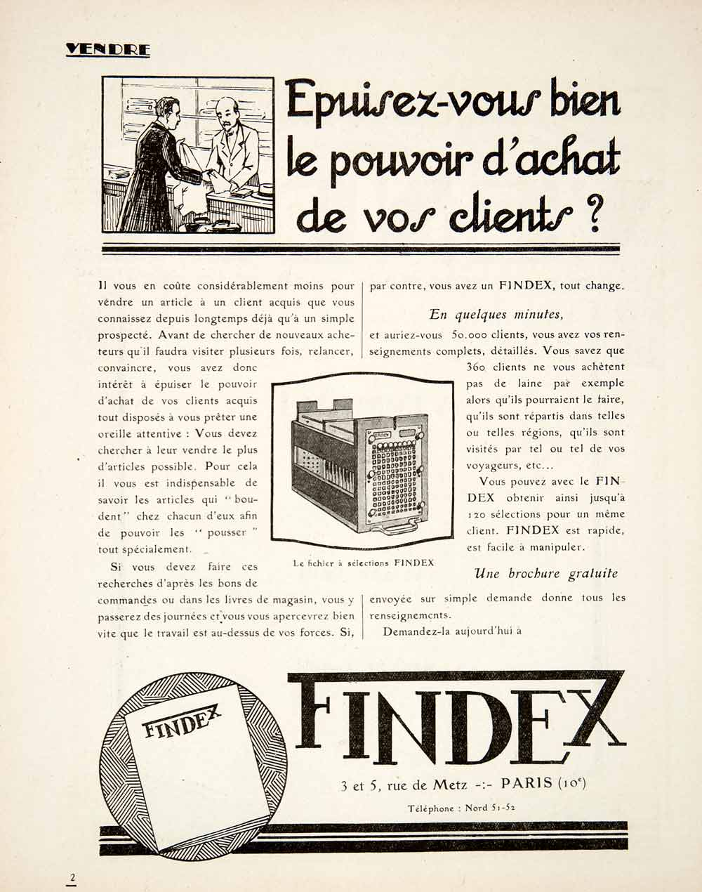 1925 Ad Findex Client System Filing French 3 Metz Paris Business VEN3