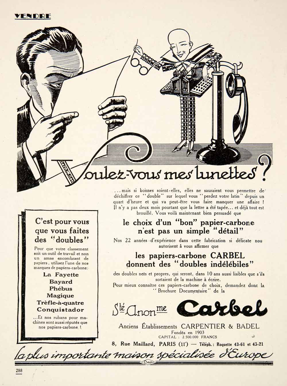 1925 Ad Carbel Carpentier Badel Glasses Telephone French Carbon Paper VEN3