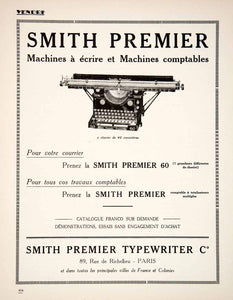 1925 Ad Smith Premier Typewriters Accounting Machines 89 Rue Richelieu VEN3